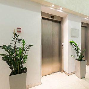 Elevators in hotel lobby